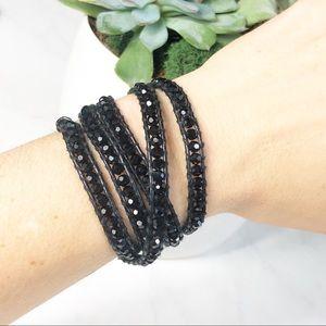 Victoria Emerson Wrap Bracelet Black Leather